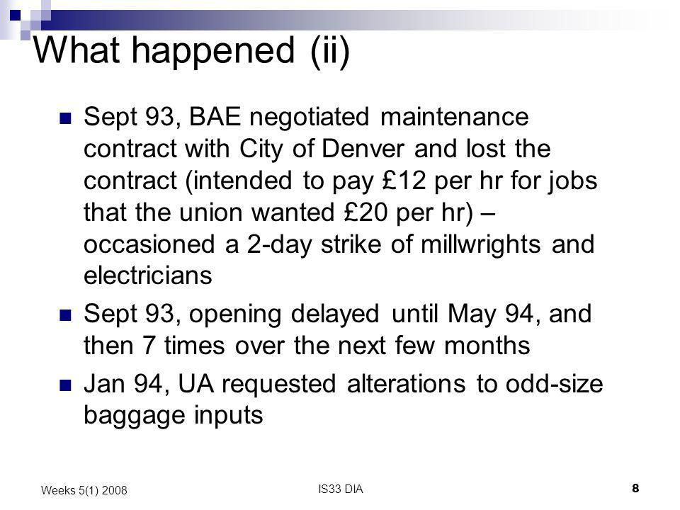 IS33 DIA8 Weeks 5(1) 2008 What happened (ii) Sept 93, BAE negotiated maintenance contract with City of Denver and lost the contract (intended to pay £