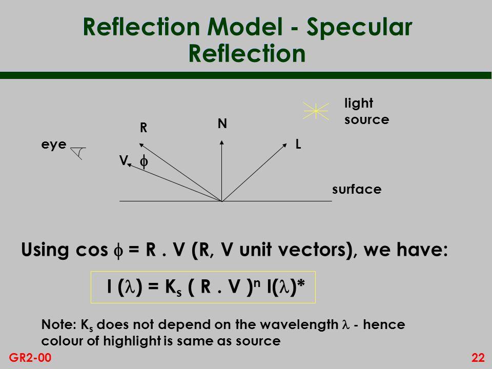 22GR2-00 Reflection Model - Specular Reflection V light source N L R eye surface Using cos = R. V (R, V unit vectors), we have: I ( ) = K s ( R. V ) n