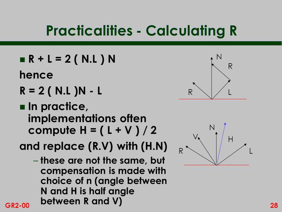 28GR2-00 Practicalities - Calculating R n R + L = 2 ( N.L ) N hence R = 2 ( N.L )N - L n In practice, implementations often compute H = ( L + V ) / 2