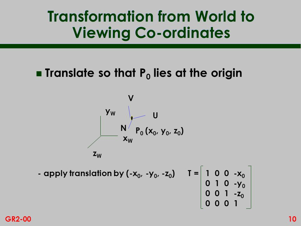 10GR2-00 Transformation from World to Viewing Co-ordinates n Translate so that P 0 lies at the origin xWxW yWyW zWzW P0P0 - apply translation by (-x 0