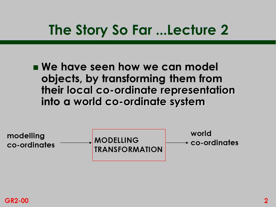 2GR2-00 The Story So Far...Lecture 2 local co-ordinate representation world co-ordinate system n We have seen how we can model objects, by transformin