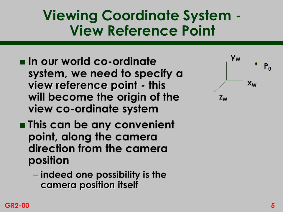 5GR2-00 Viewing Coordinate System - View Reference Point view reference point - n In our world co-ordinate system, we need to specify a view reference