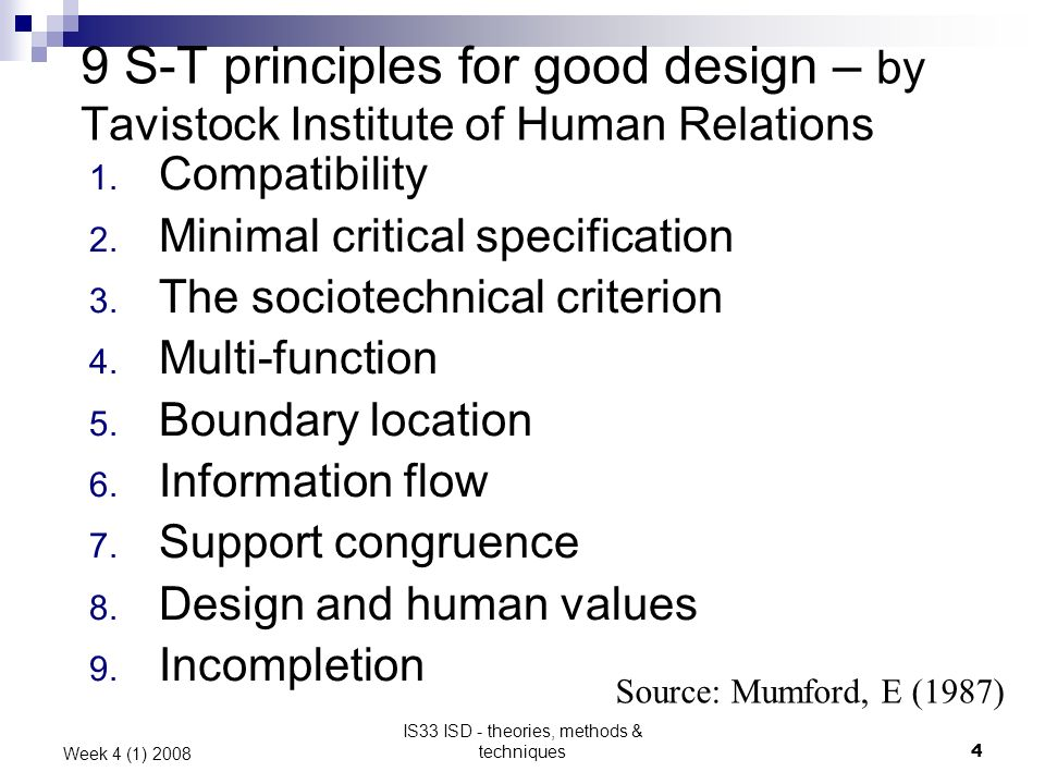 IS33 ISD - theories, methods & techniques4 Week 4 (1) 2008 9 S-T principles for good design – by Tavistock Institute of Human Relations 1.