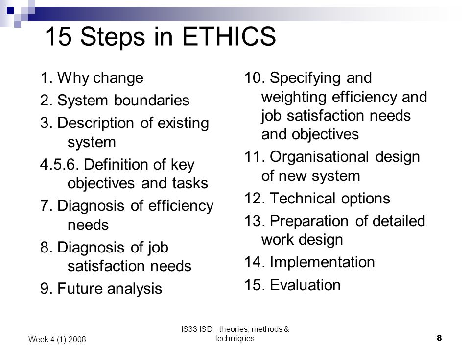 IS33 ISD - theories, methods & techniques8 Week 4 (1) 2008 15 Steps in ETHICS 1.