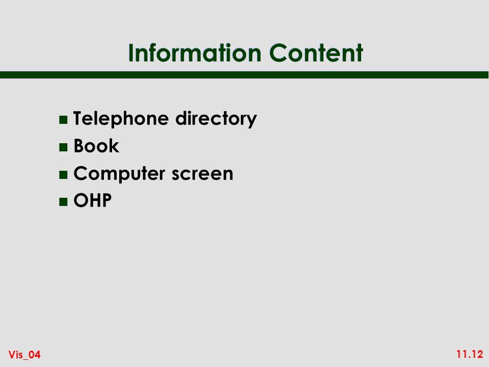 11.12 Vis_04 Information Content n Telephone directory n Book n Computer screen n OHP