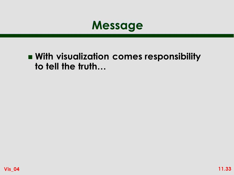 11.33 Vis_04 Message n With visualization comes responsibility to tell the truth…