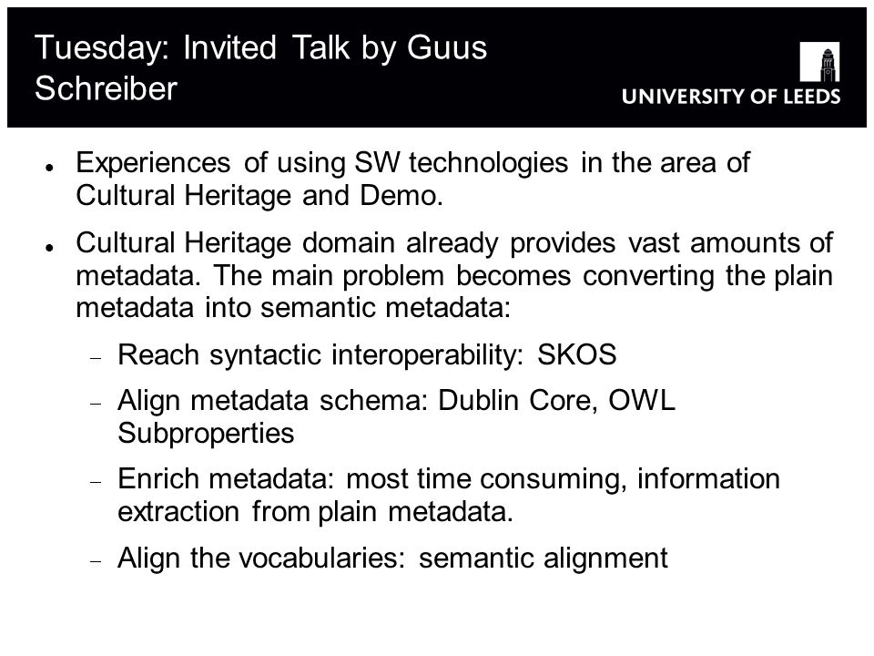 Experiences of using SW technologies in the area of Cultural Heritage and Demo.