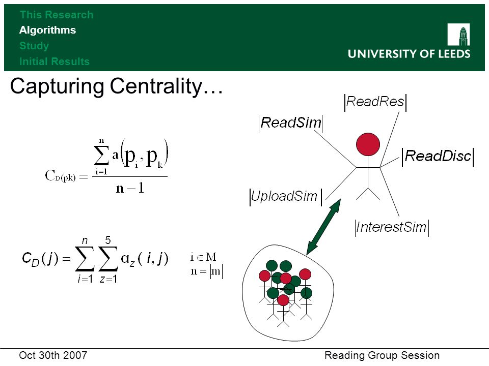Capturing Centrality… This Research Algorithms Study Initial Results Oct 30th 2007 Reading Group Session