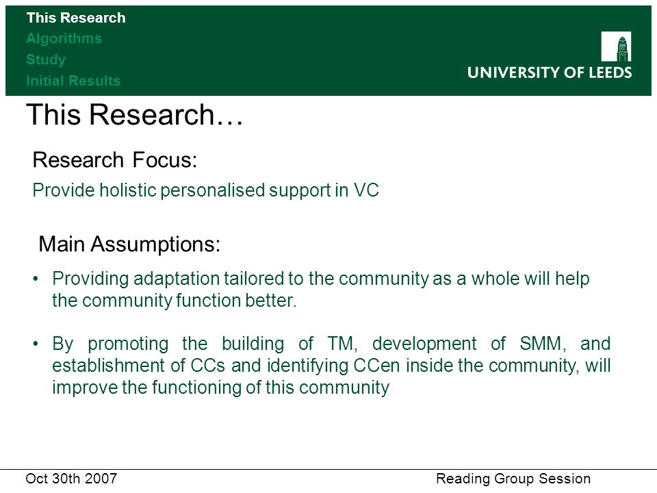 This Research… Research Focus: Provide holistic personalised support in VC Main Assumptions: Providing adaptation tailored to the community as a whole will help the community function better.