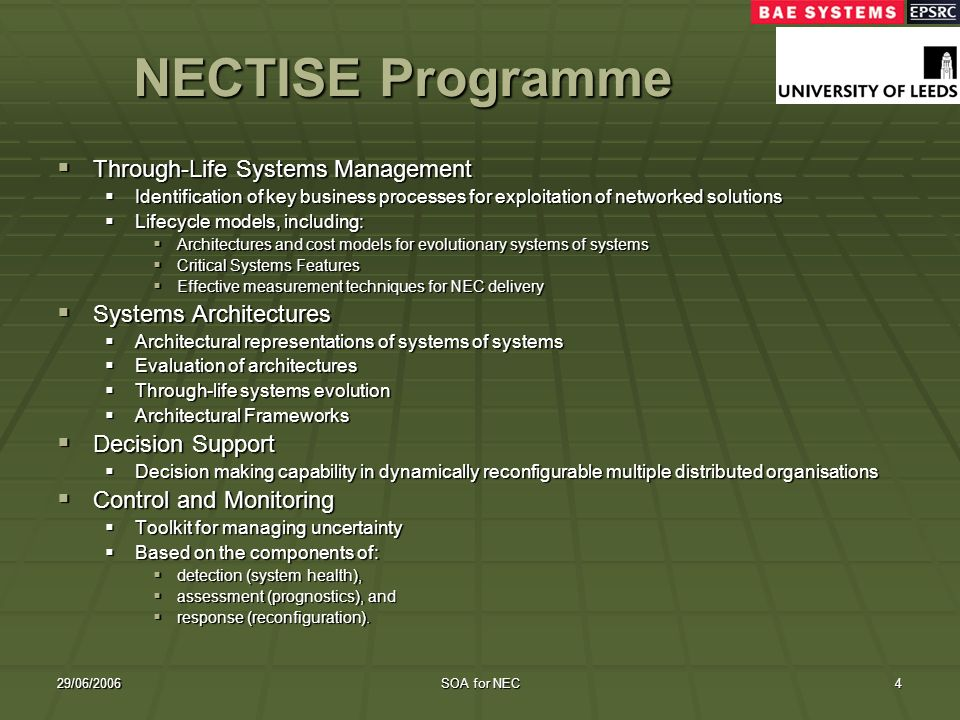 29/06/2006SOA for NEC4 NECTISE Programme Through-Life Systems Management Through-Life Systems Management Identification of key business processes for