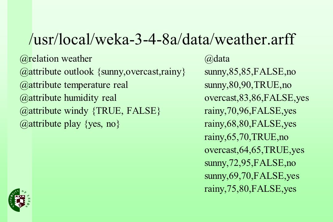 /usr/local/weka-3-4-8a/data/weather.arff @relation weather @attribute outlook {sunny,overcast,rainy} @attribute temperature real @attribute humidity real @attribute windy {TRUE, FALSE} @attribute play {yes, no} @data sunny,85,85,FALSE,no sunny,80,90,TRUE,no overcast,83,86,FALSE,yes rainy,70,96,FALSE,yes rainy,68,80,FALSE,yes rainy,65,70,TRUE,no overcast,64,65,TRUE,yes sunny,72,95,FALSE,no sunny,69,70,FALSE,yes rainy,75,80,FALSE,yes