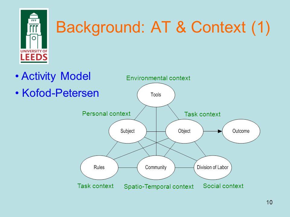10 Background: AT & Context (1) Environmental context Task context Social context Spatio-Temporal context Task context Personal context Kofod-Petersen