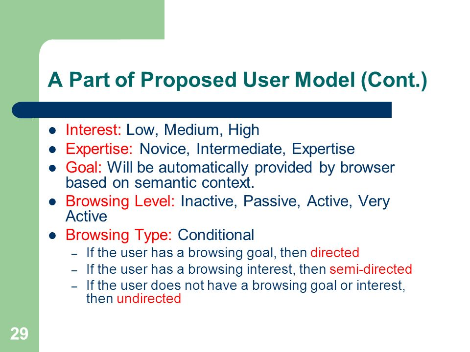 29 A Part of Proposed User Model (Cont.) Interest: Low, Medium, High Expertise: Novice, Intermediate, Expertise Goal: Will be automatically provided by browser based on semantic context.