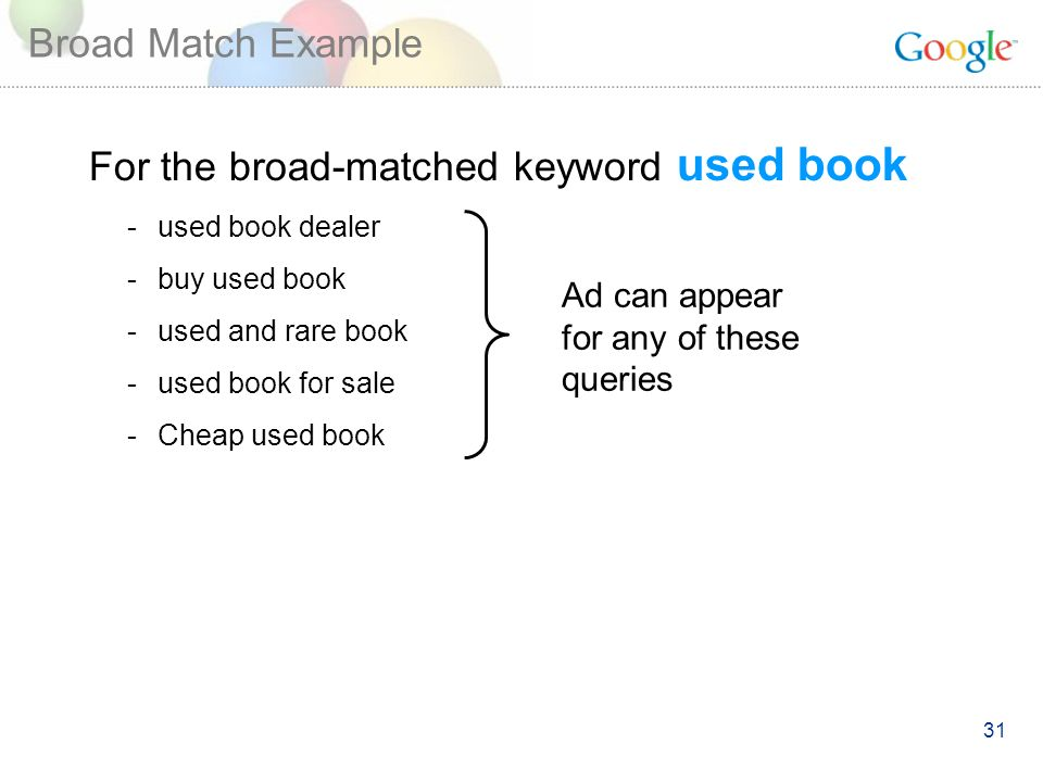 31 Broad Match Example For the broad-matched keyword used book -used book dealer -buy used book -used and rare book -used book for sale -Cheap used book Ad can appear for any of these queries