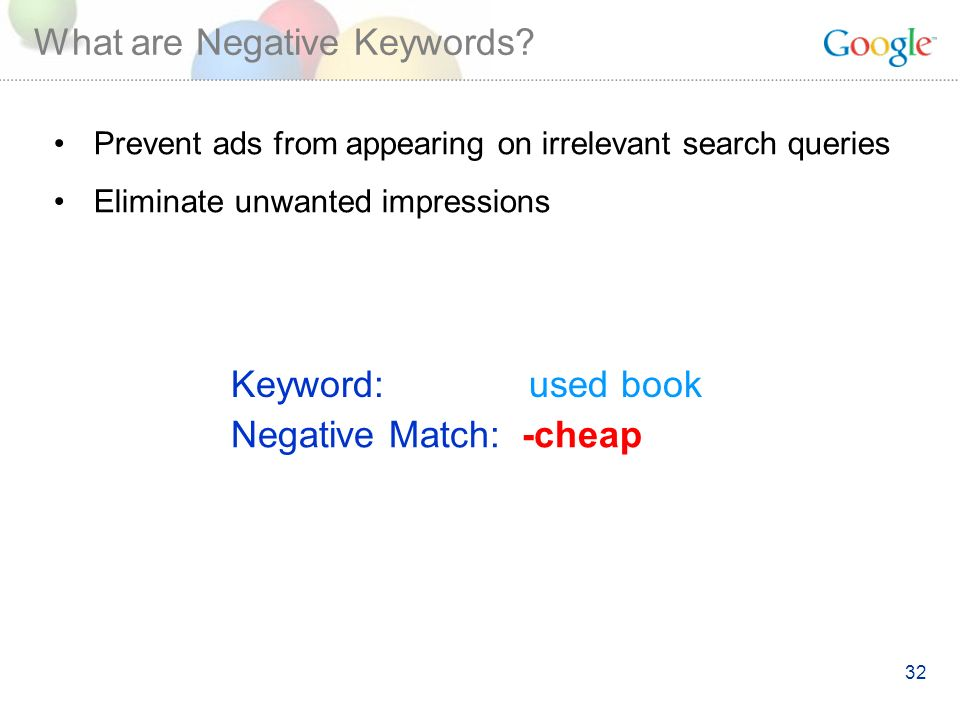 32 What are Negative Keywords.