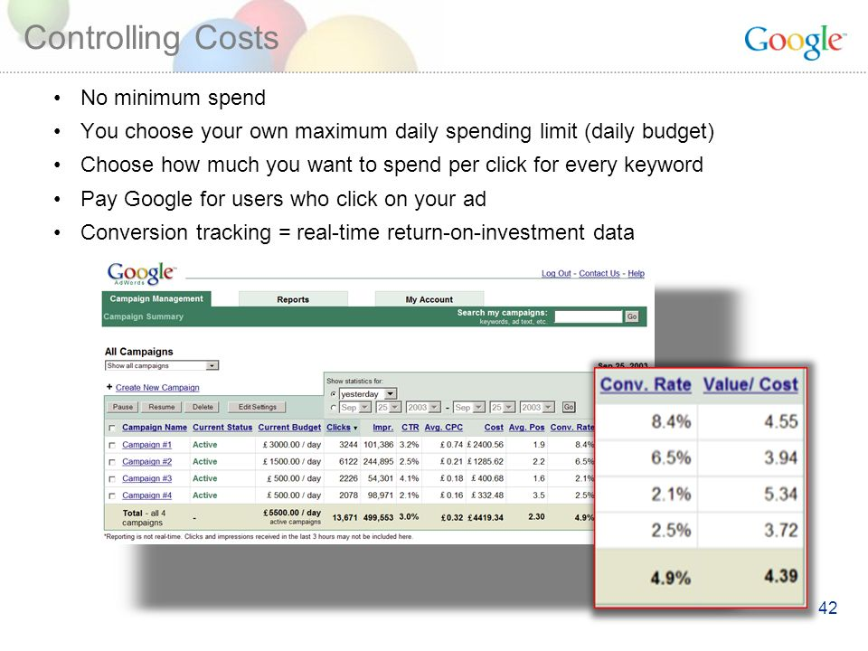 42 Controlling Costs No minimum spend You choose your own maximum daily spending limit (daily budget) Choose how much you want to spend per click for every keyword Pay Google for users who click on your ad Conversion tracking = real-time return-on-investment data
