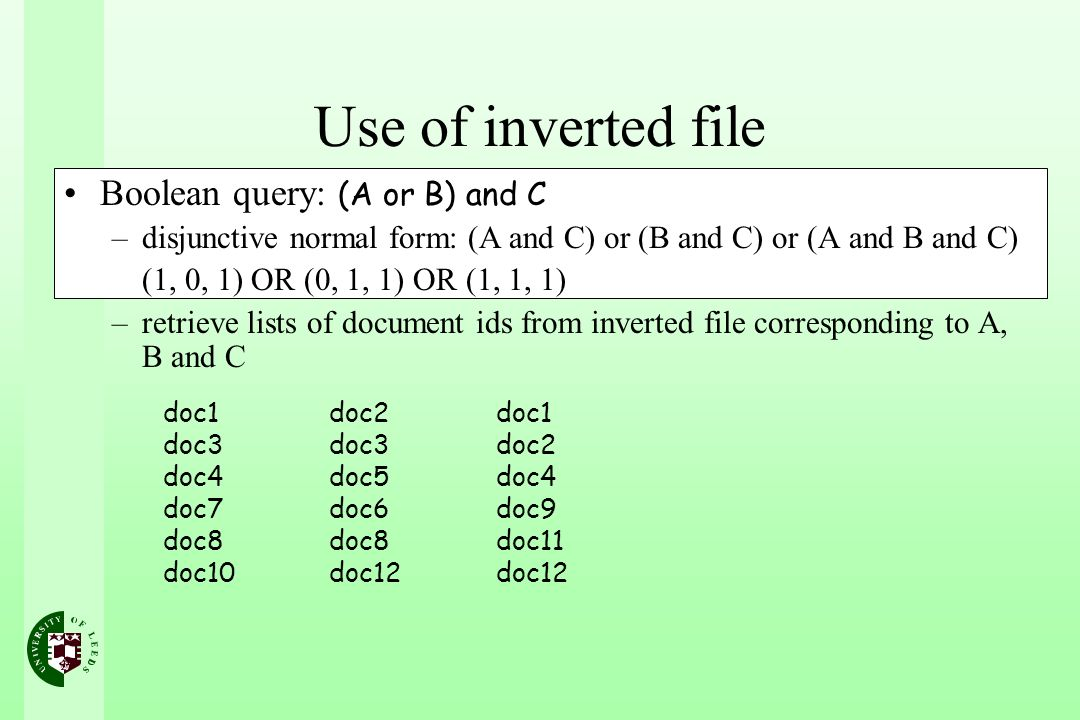 Use of inverted file Boolean query: (A or B) and C –disjunctive normal form: (A and C) or (B and C) or (A and B and C) (1, 0, 1) OR (0, 1, 1) OR (1, 1, 1) –retrieve lists of document ids from inverted file corresponding to A, B and C doc1 doc3 doc4 doc7 doc8 doc10 doc2 doc3 doc5 doc6 doc8 doc12 doc1 doc2 doc4 doc9 doc11 doc12