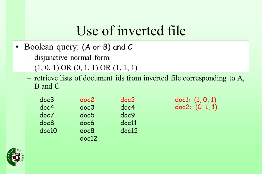 Use of inverted file Boolean query: (A or B) and C –disjunctive normal form: (1, 0, 1) OR (0, 1, 1) OR (1, 1, 1) –retrieve lists of document ids from inverted file corresponding to A, B and C doc3 doc4 doc7 doc8 doc10 doc2 doc3 doc5 doc6 doc8 doc12 doc2 doc4 doc9 doc11 doc12 doc1: (1, 0, 1) doc2: (0, 1, 1)