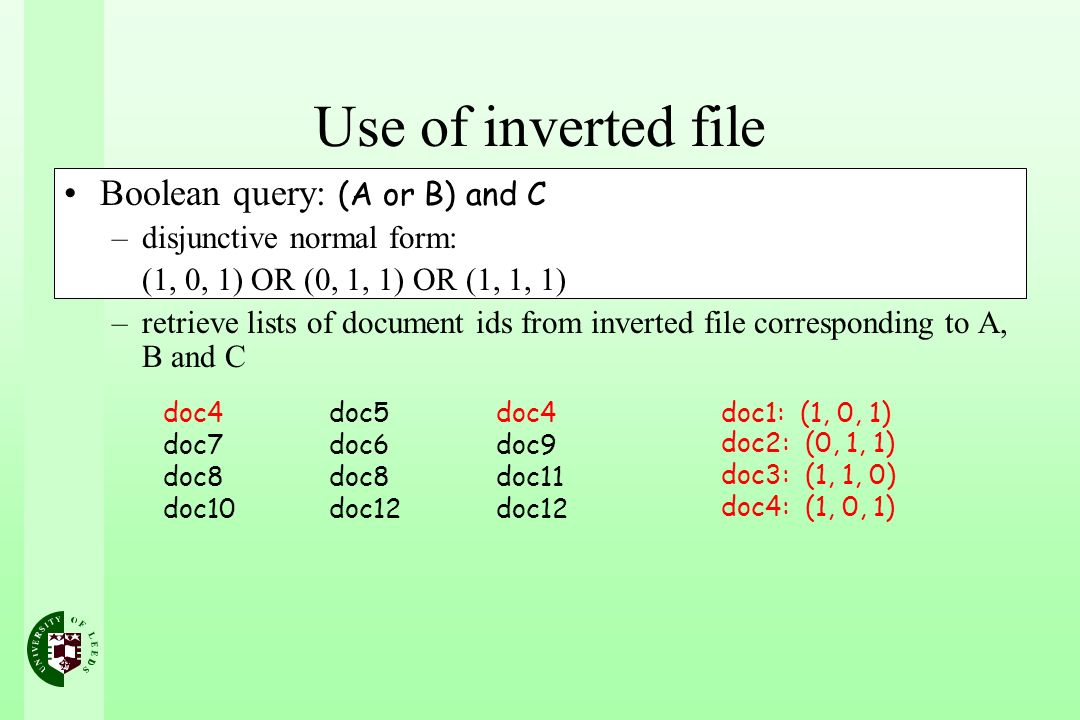 Use of inverted file Boolean query: (A or B) and C –disjunctive normal form: (1, 0, 1) OR (0, 1, 1) OR (1, 1, 1) –retrieve lists of document ids from inverted file corresponding to A, B and C doc4 doc7 doc8 doc10 doc5 doc6 doc8 doc12 doc4 doc9 doc11 doc12 doc1: (1, 0, 1) doc2: (0, 1, 1) doc3: (1, 1, 0) doc4: (1, 0, 1)