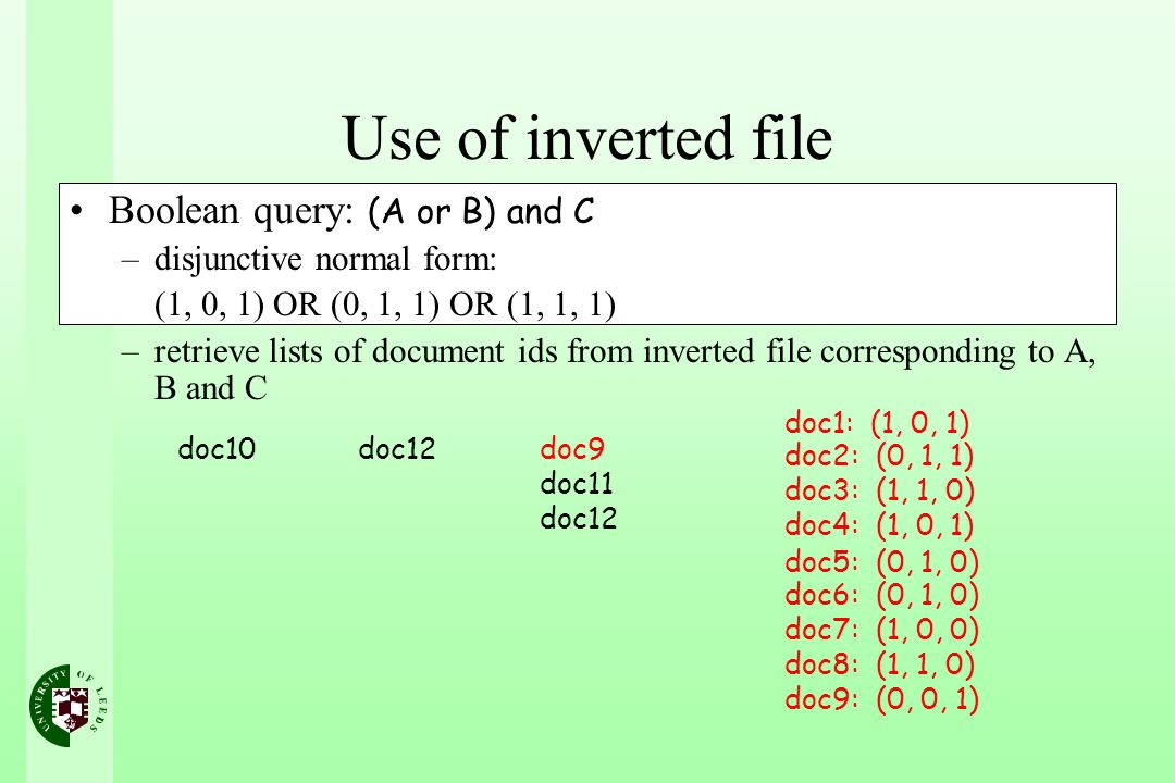 Use of inverted file Boolean query: (A or B) and C –disjunctive normal form: (1, 0, 1) OR (0, 1, 1) OR (1, 1, 1) –retrieve lists of document ids from inverted file corresponding to A, B and C doc10doc12doc9 doc11 doc12 doc1: (1, 0, 1) doc2: (0, 1, 1) doc3: (1, 1, 0) doc4: (1, 0, 1) doc5: (0, 1, 0) doc6: (0, 1, 0) doc7: (1, 0, 0) doc8: (1, 1, 0) doc9: (0, 0, 1)