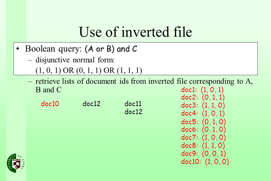 Use of inverted file Boolean query: (A or B) and C –disjunctive normal form: (1, 0, 1) OR (0, 1, 1) OR (1, 1, 1) –retrieve lists of document ids from inverted file corresponding to A, B and C doc10doc12doc11 doc12 doc1: (1, 0, 1) doc2: (0, 1, 1) doc3: (1, 1, 0) doc4: (1, 0, 1) doc5: (0, 1, 0) doc6: (0, 1, 0) doc7: (1, 0, 0) doc8: (1, 1, 0) doc9: (0, 0, 1) doc10: (1, 0, 0)