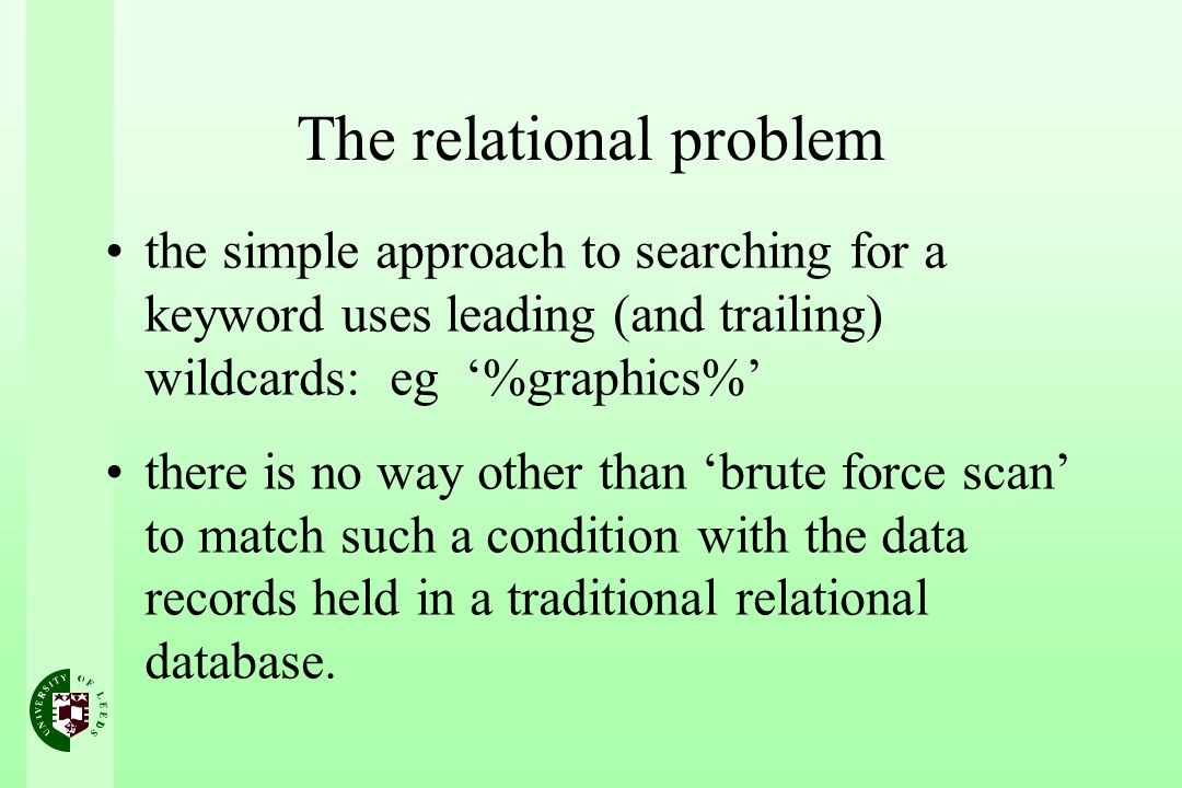 The relational problem the simple approach to searching for a keyword uses leading (and trailing) wildcards: eg %graphics% there is no way other than brute force scan to match such a condition with the data records held in a traditional relational database.