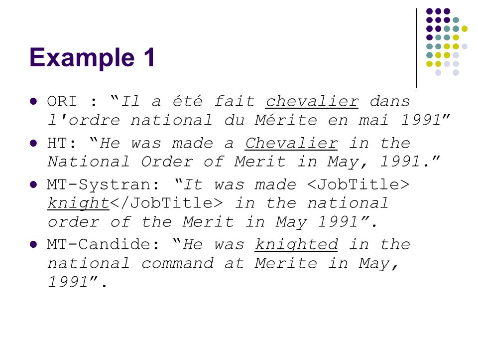 Example 1 ORI : Il a été fait chevalier dans l ordre national du Mérite en mai 1991 HT: He was made a Chevalier in the National Order of Merit in May, 1991.