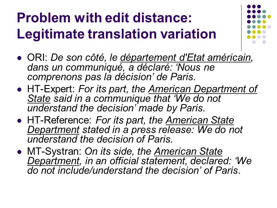 Problem with edit distance: Legitimate translation variation ORI: De son côté, le département d'Etat américain, dans un communiqué, a déclaré: Nous ne