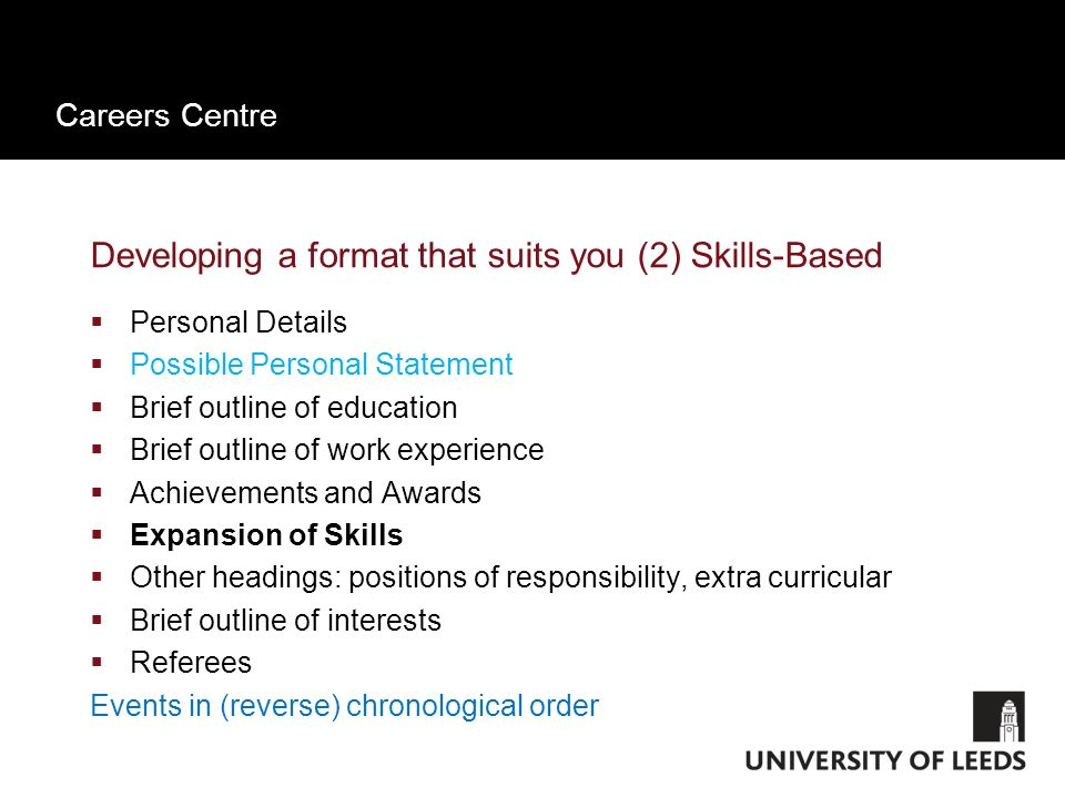 Careers Centre Work experience section of Traditional CV