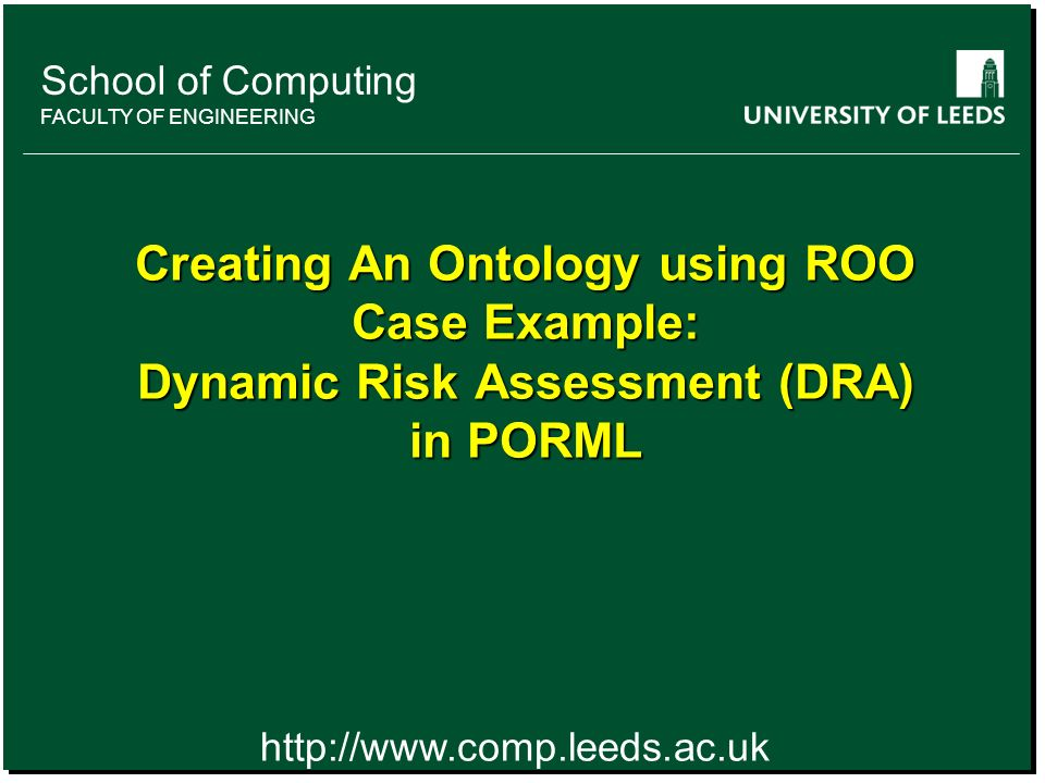 School of something FACULTY OF OTHER School of Computing FACULTY OF ENGINEERING Creating An Ontology using ROO Case Example: Dynamic Risk Assessment (