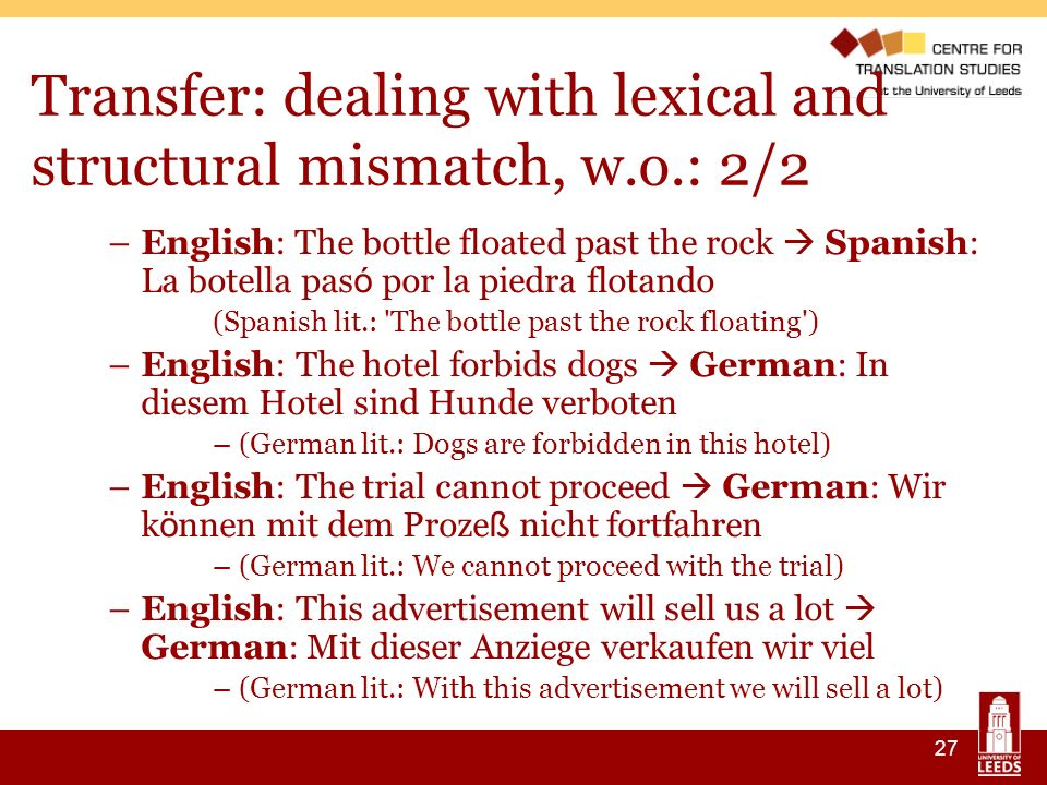 27 Transfer: dealing with lexical and structural mismatch, w.o.: 2/2 –English: The bottle floated past the rock Spanish: La botella pas ó por la piedra flotando (Spanish lit.: The bottle past the rock floating ) –English: The hotel forbids dogs German: In diesem Hotel sind Hunde verboten –(German lit.: Dogs are forbidden in this hotel) –English: The trial cannot proceed German: Wir k ö nnen mit dem Proze ß nicht fortfahren –(German lit.: We cannot proceed with the trial) –English: This advertisement will sell us a lot German: Mit dieser Anziege verkaufen wir viel –(German lit.: With this advertisement we will sell a lot)