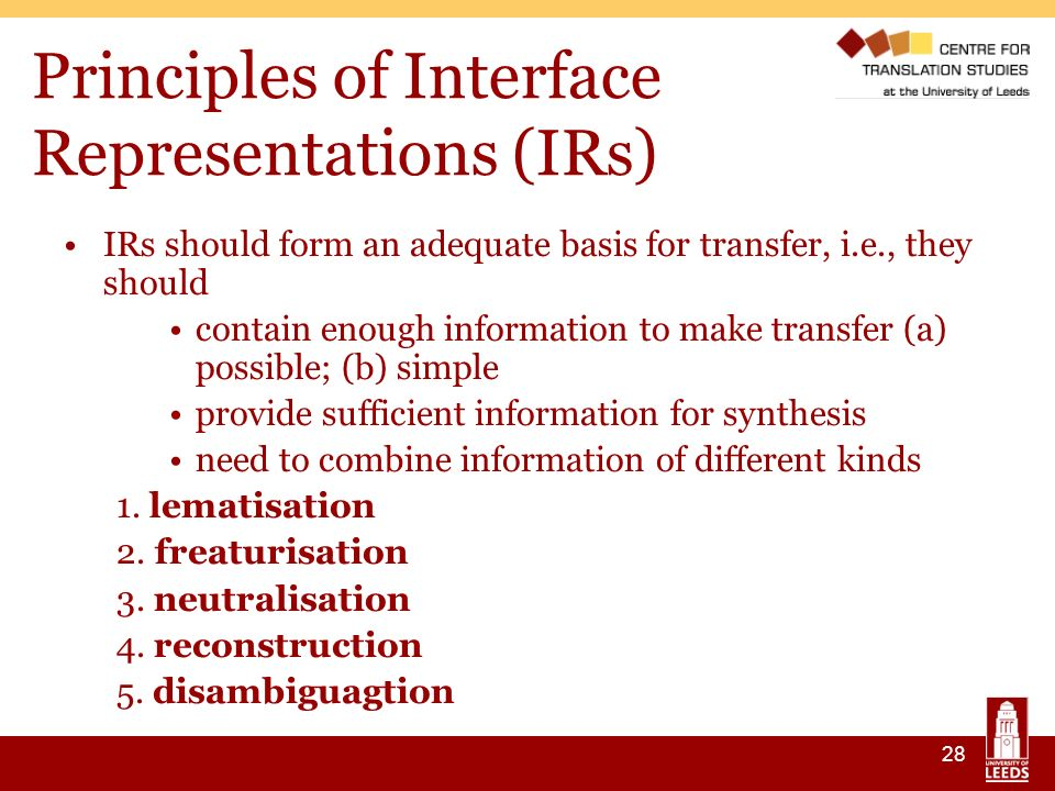 28 Principles of Interface Representations (IRs) IRs should form an adequate basis for transfer, i.e., they should contain enough information to make transfer (a) possible; (b) simple provide sufficient information for synthesis need to combine information of different kinds 1.