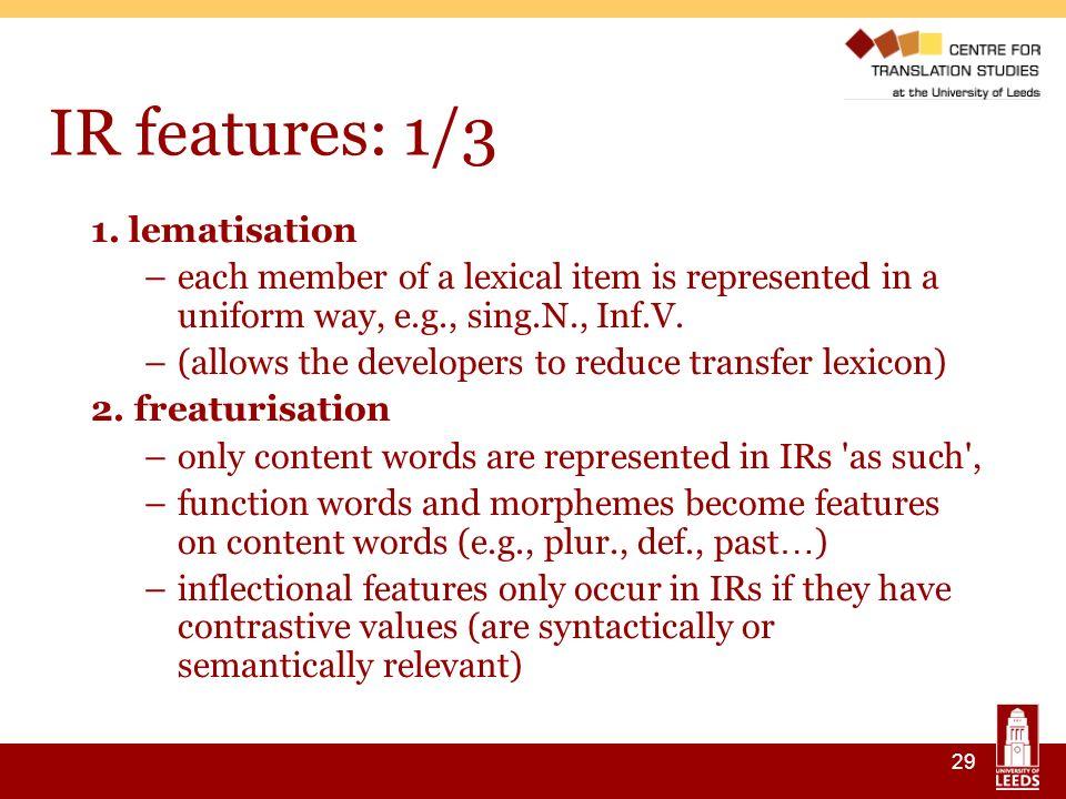 29 IR features: 1/3 1.