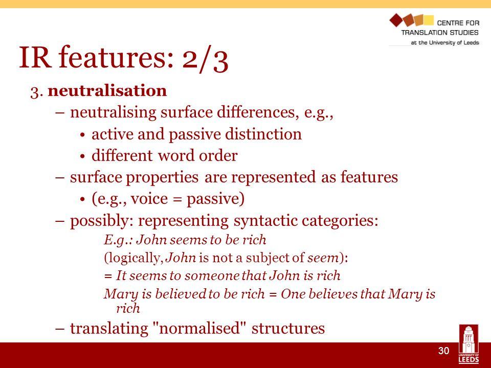 30 IR features: 2/3 3.