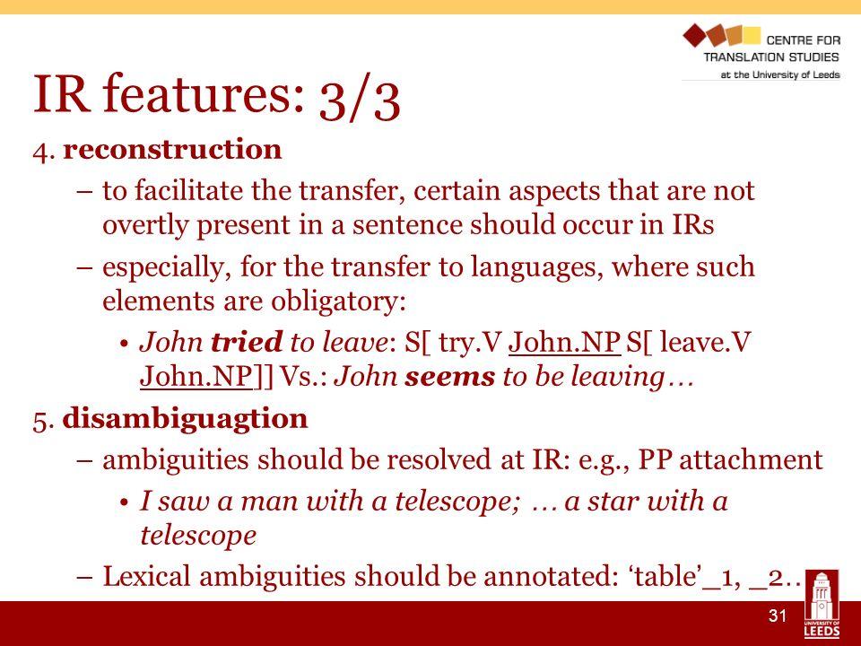 31 IR features: 3/3 4.