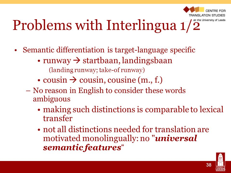 38 Problems with Interlingua 1/2 Semantic differentiation is target-language specific runway startbaan, landingsbaan (landing runway; take-of runway) cousin cousin, cousine (m., f.) –No reason in English to consider these words ambiguous making such distinctions is comparable to lexical transfer not all distinctions needed for translation are motivated monolingually: no universal semantic features