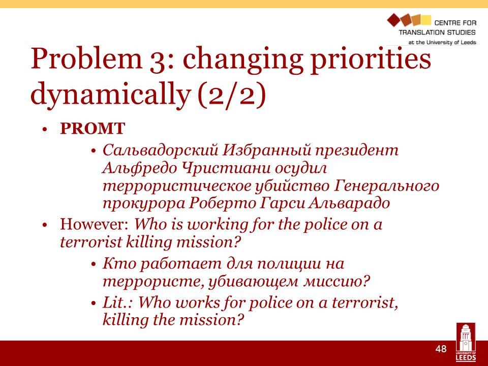 48 Problem 3: changing priorities dynamically (2/2) PROMT Сальвадорский Избранный президент Альфредо Чристиани осудил террористическое убийство Генера
