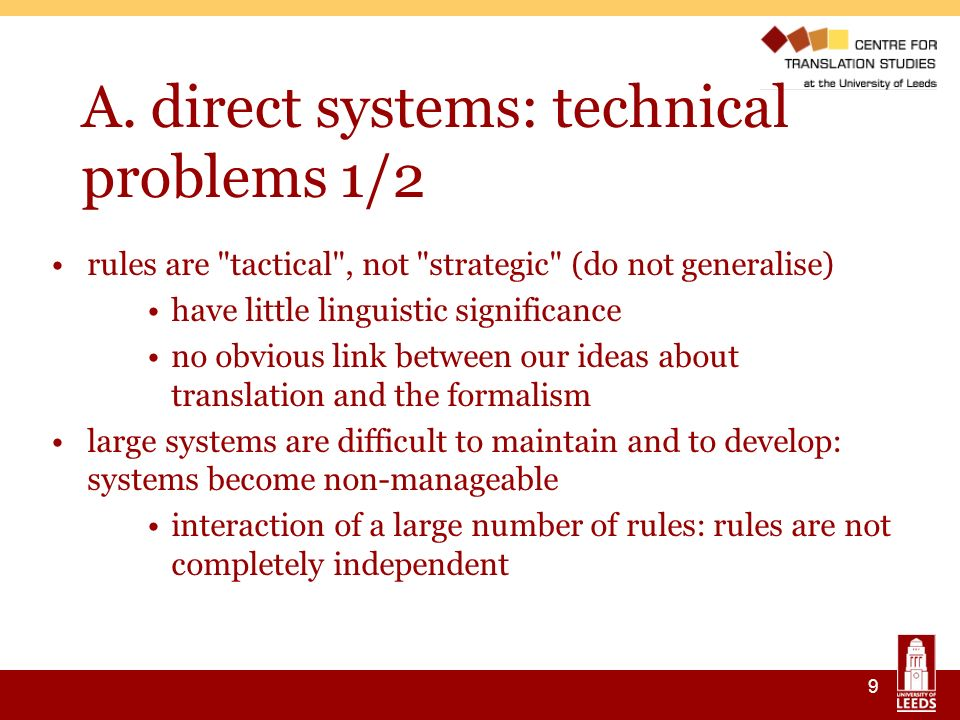 9 A. direct systems: technical problems 1/2 rules are