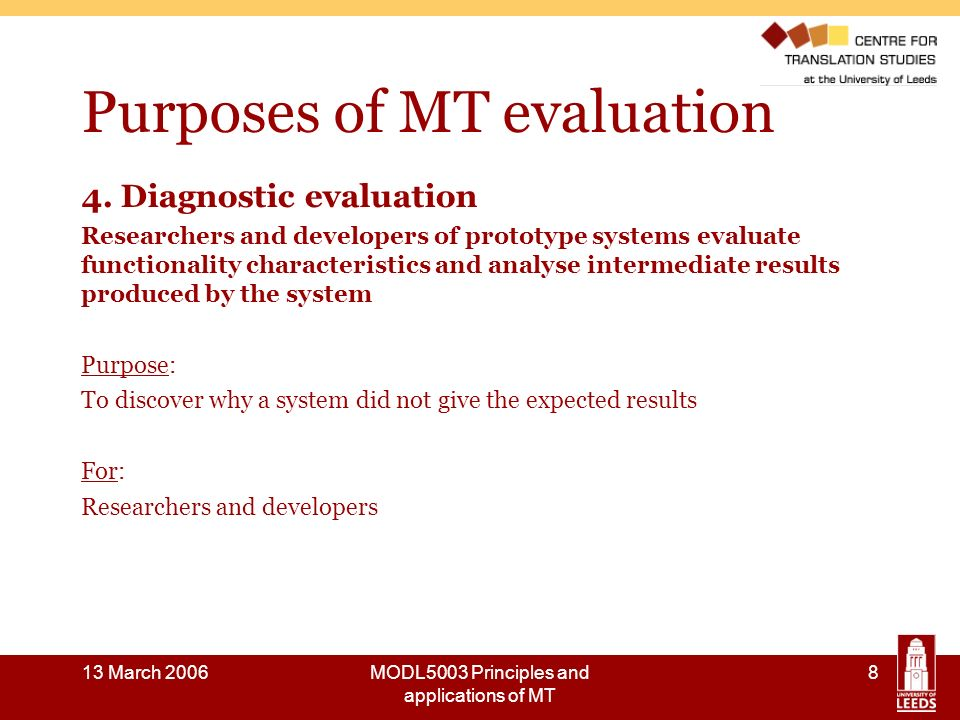 13 March 2006MODL5003 Principles and applications of MT 29 Where next.