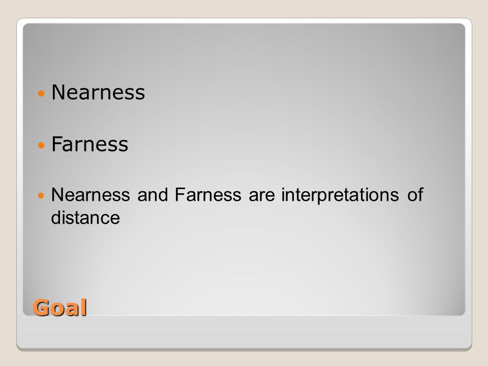 Goal Nearness Farness Nearness and Farness are interpretations of distance