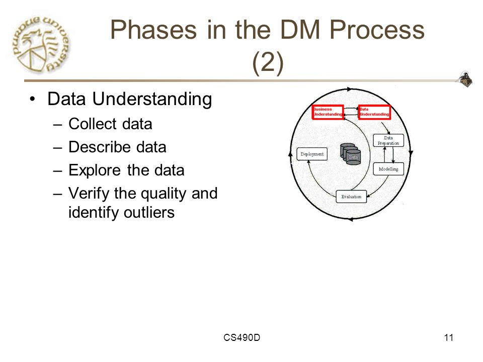 CS490D11 Phases in the DM Process (2) Data Understanding –Collect data –Describe data –Explore the data –Verify the quality and identify outliers