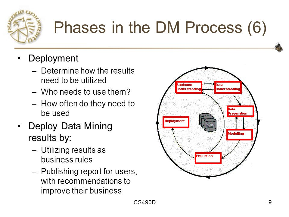 CS490D19 Phases in the DM Process (6) Deployment –Determine how the results need to be utilized –Who needs to use them? –How often do they need to be