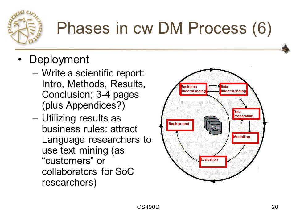 CS490D20 Phases in cw DM Process (6) Deployment –Write a scientific report: Intro, Methods, Results, Conclusion; 3-4 pages (plus Appendices?) –Utilizi