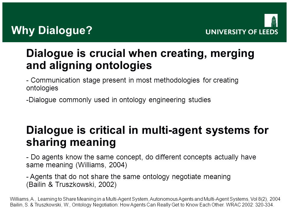 Why Dialogue? Dialogue is crucial when creating, merging and aligning ontologies - Communication stage present in most methodologies for creating onto