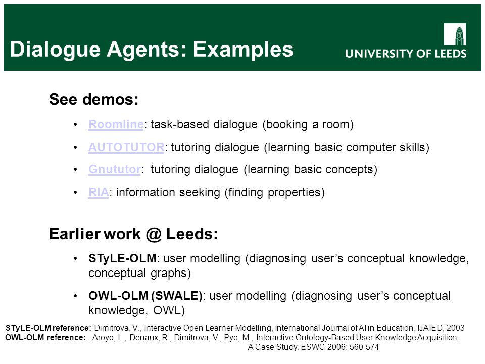 Dialogue Agents: Examples See demos: Roomline: task-based dialogue (booking a room)Roomline AUTOTUTOR: tutoring dialogue (learning basic computer skil
