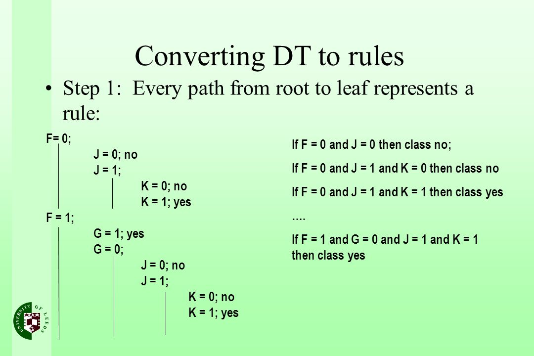 Converting DT to rules Step 1: Every path from root to leaf represents a rule: F= 0; J = 0; no J = 1; K = 0; no K = 1; yes F = 1; G = 1; yes G = 0; J = 0; no J = 1; K = 0; no K = 1; yes If F = 0 and J = 0 then class no; If F = 0 and J = 1 and K = 0 then class no If F = 0 and J = 1 and K = 1 then class yes ….