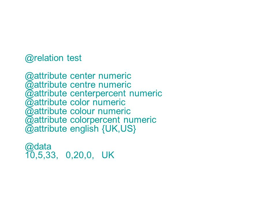 @relation test @attribute center numeric @attribute centre numeric @attribute centerpercent numeric @attribute color numeric @attribute colour numeric @attribute colorpercent numeric @attribute english {UK,US} @data 10,5,33, 0,20,0, UK