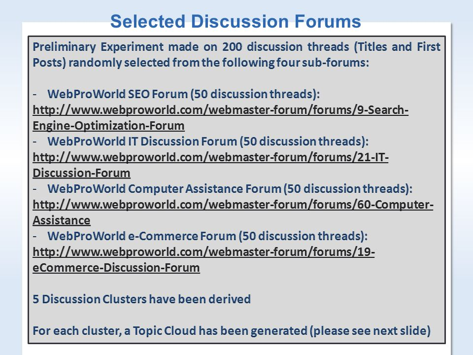 3 Selected Discussion Forums