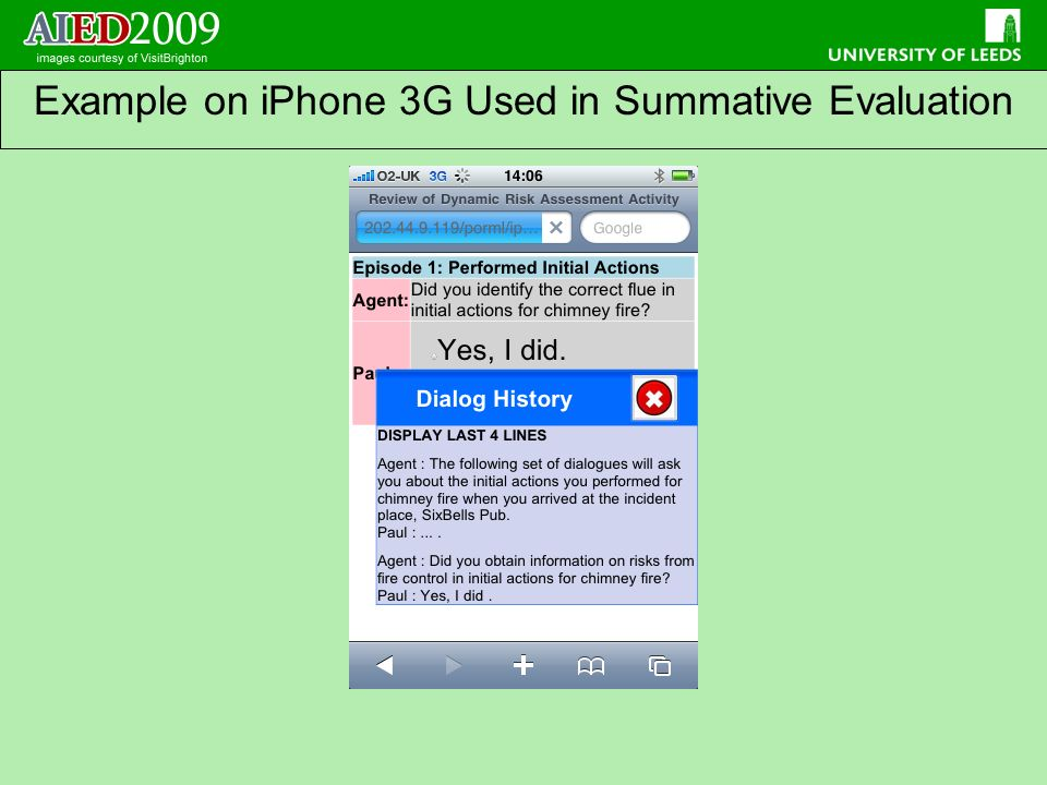 Example on iPhone 3G Used in Summative Evaluation