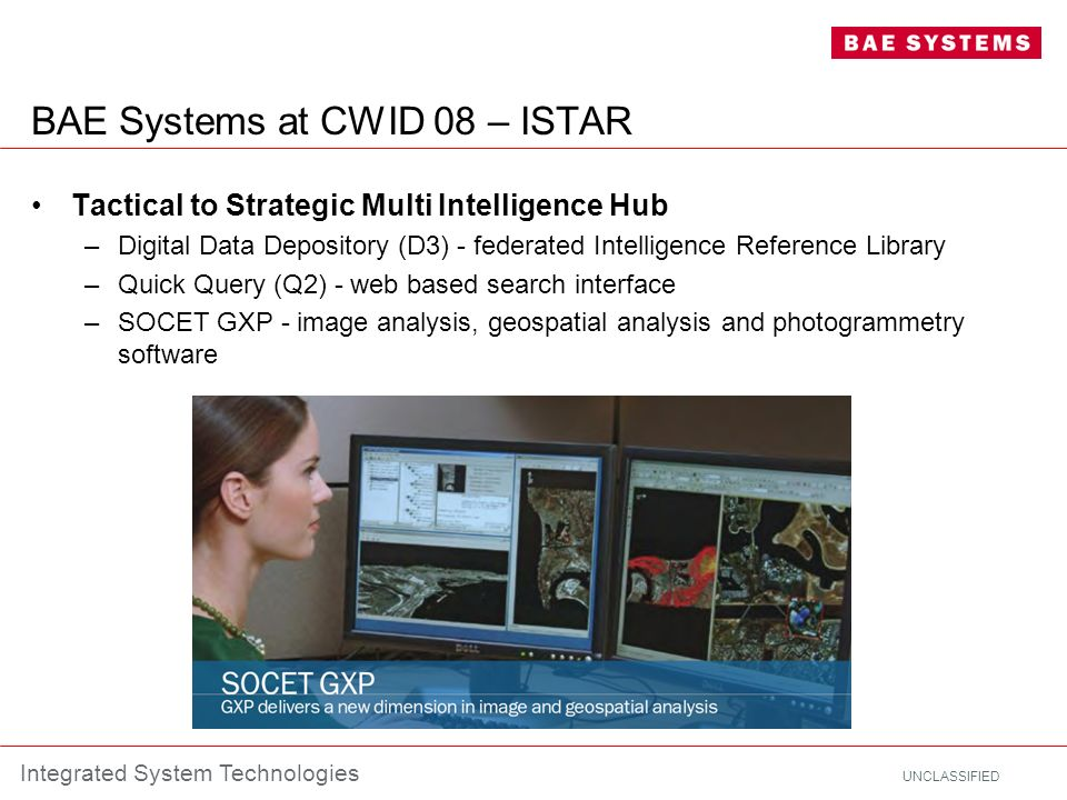 UNCLASSIFIED Integrated System Technologies BAE Systems at CWID 08 – ISTAR Tactical to Strategic Multi Intelligence Hub –Digital Data Depository (D3)